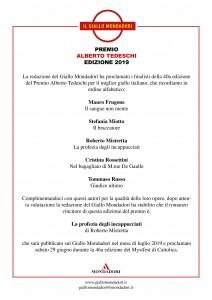 Vincitore Premio Alberto Tedeschi 2019