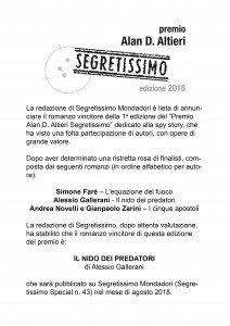 Vincitore premio Altieri Segretissimo 2018