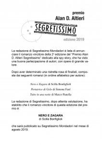 Vincitore premio Altieri Segretissimo 2019