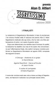 Finalisti Premio Altieri 2020