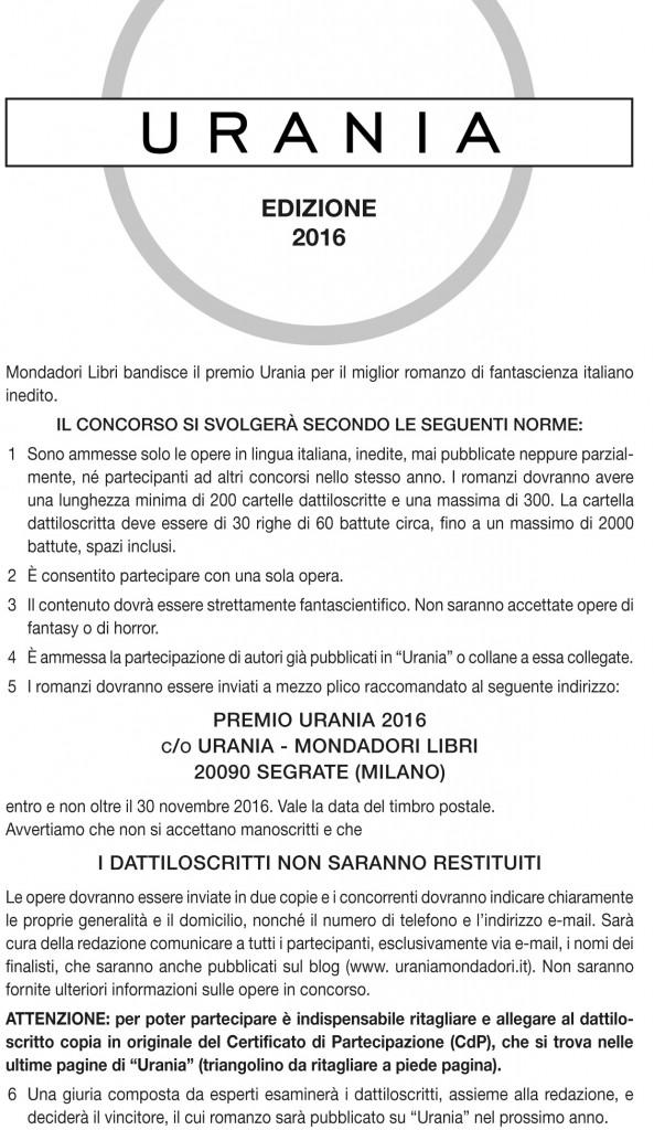 Bando premio Urania 2016-2017