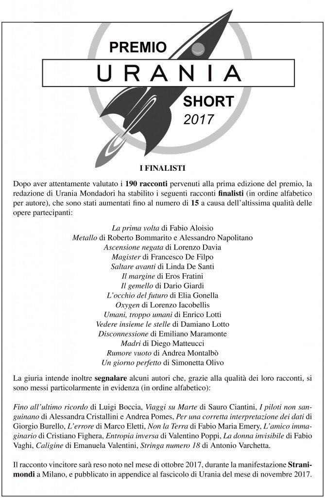 Finalisti Premio Urania Short 2017