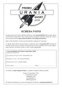 Scheda voto Premio Urania Short 2018