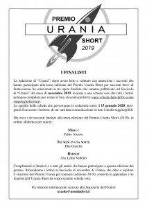 Finalisti Premio Urania Short 2019