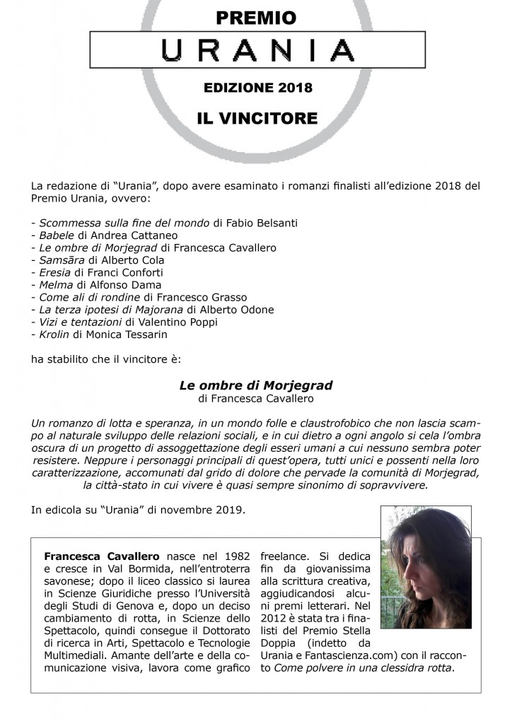 Vincitore Premio Urania 2018 (1)