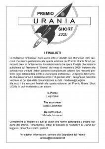 Finalisti Premio Urania Short 2020