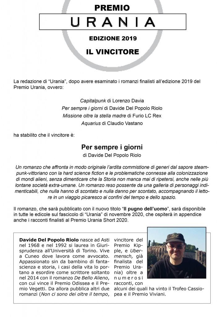 Vincitore Premio Urania 2019