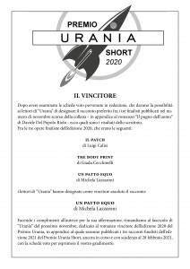 Vincitore Premio Urania Short 2020